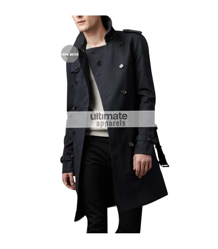 94232b0b Burberry London Replica Mens Cotton Twill Trench Black Coat