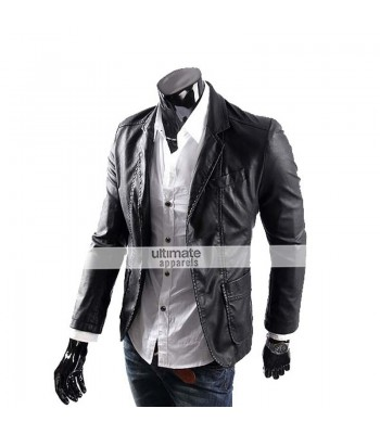 Men's Casual Smart Designers Black Leather Jacket Blazer