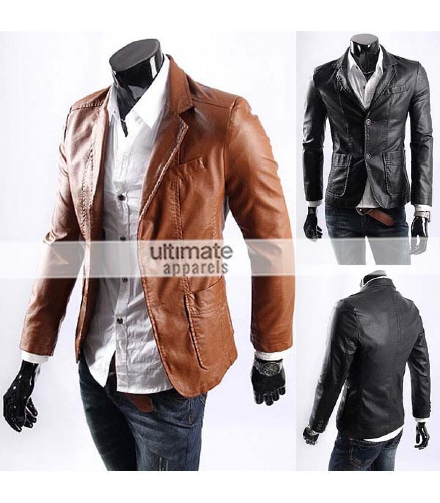 Men\u0027s Casual Smart Designers Black Leather Jacket Blazer