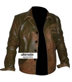 Men's Designers Green Distressed Leather Jacket (Johnny Depp)