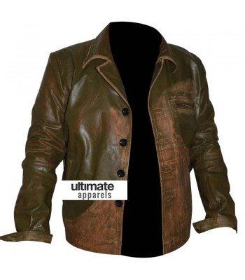 Men's Designers Green Distressed Leather Jacket (Johnny Depp)