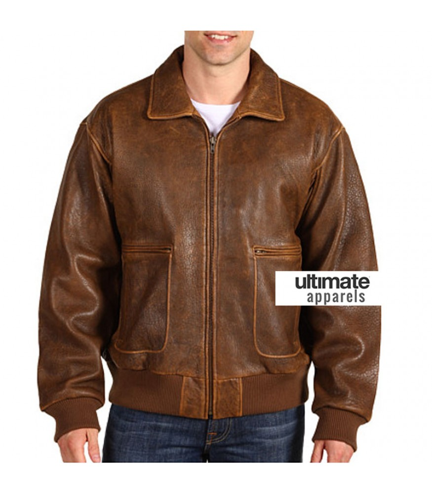 Scully Vintage Distressed Lamb Bomber Men Brown Jacket