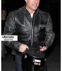 Tom Cruise Distressed Black Motorcycle Leather Jacket