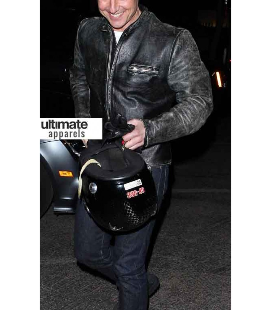 0cfea59a7 Tom Cruise Distressed Black Motorcycle Leather Jacket