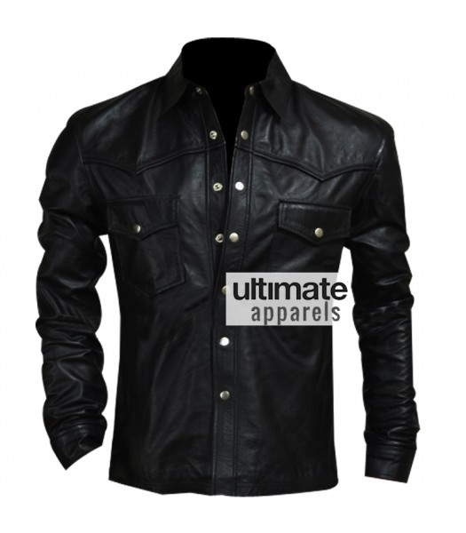 Governor Black Leather Jacket In Walking Dead Season 4