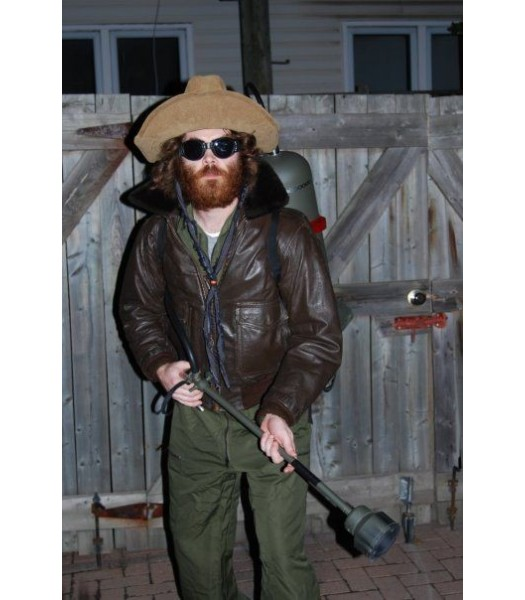Thing MacReady Men's Dark Brown Bomber Leather Jacket