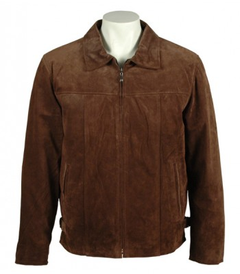 Men Suede Leather Dark Brown Formal Jacket