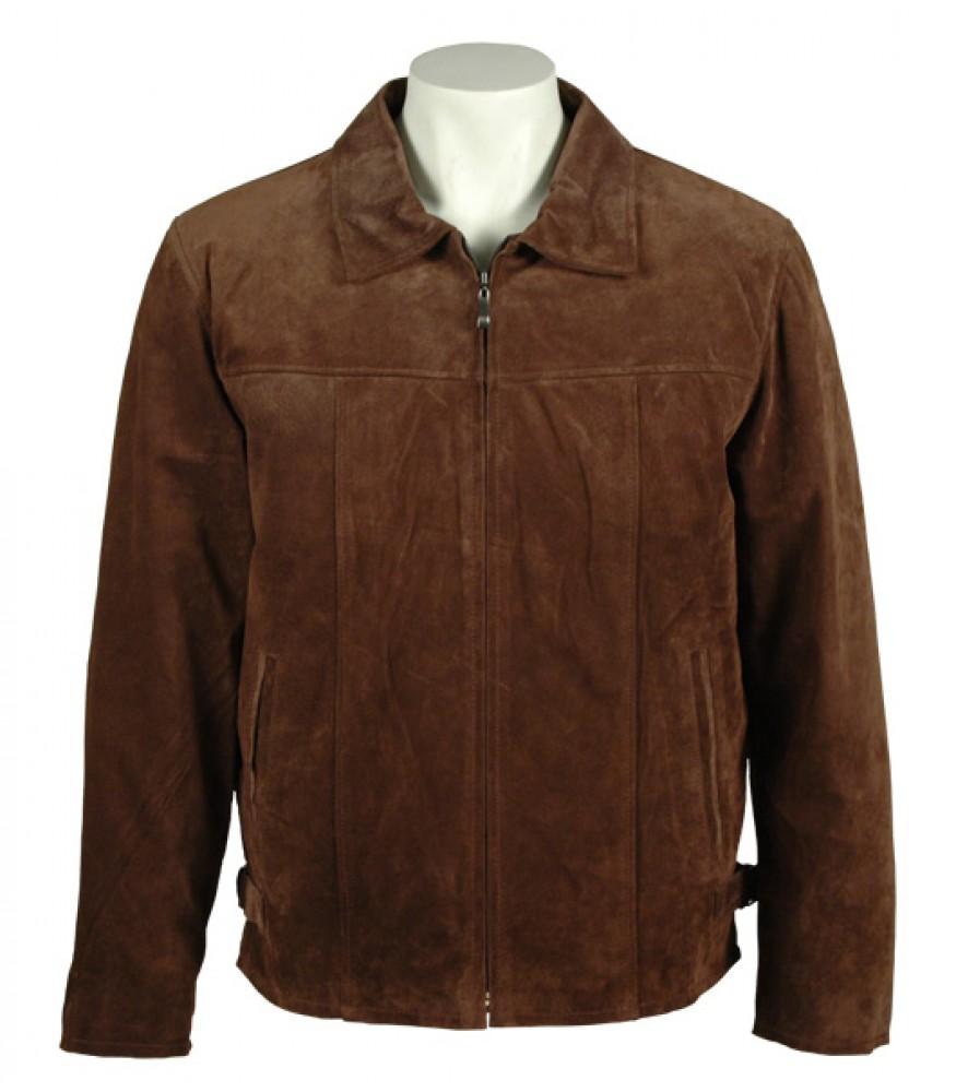 Men Suede Leather Dark Brown Formal Jacket