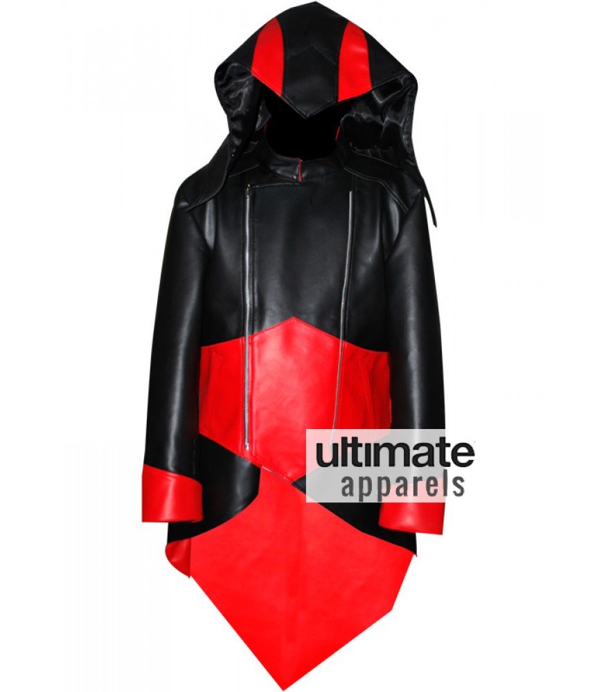Assassins Creed Connor Kenway Black Red Faux Jacket