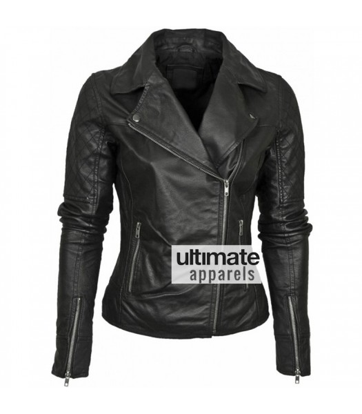 Barney Designer Women's Leather Asymmetric Biker Jacket