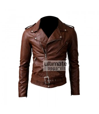 Slim Fit Belted Rider Brown Leather Jacket