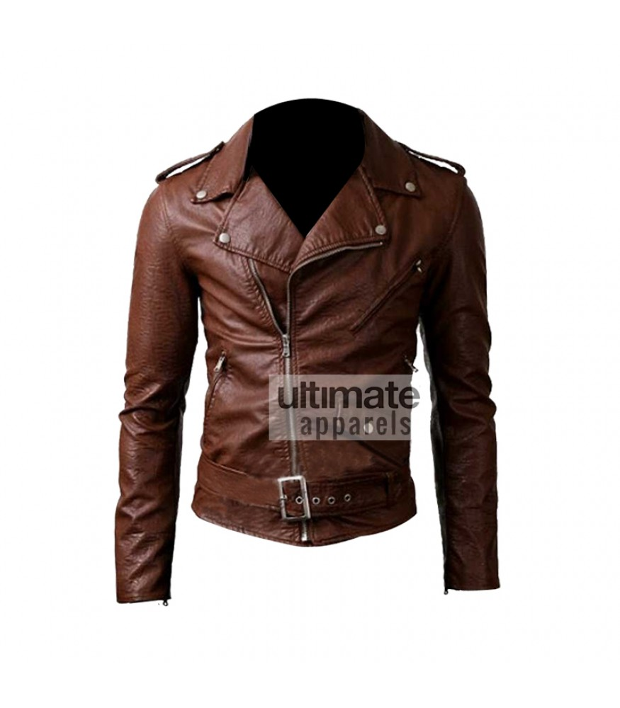 Slim brown leather jacket