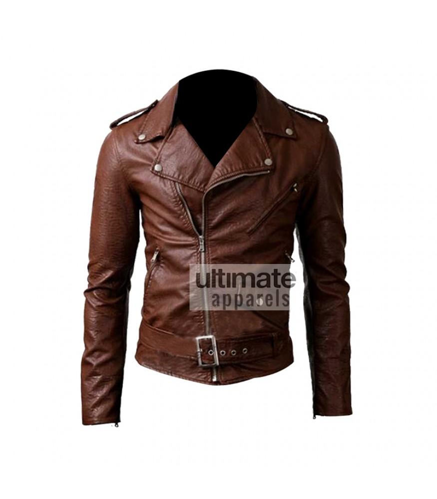 Slim Fit Belted Rider Brown Leather Jacket