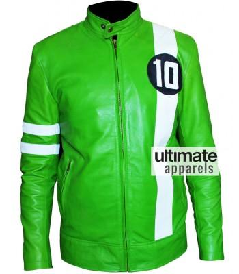Ben 10 Cartoon Green Leather Jacket Sale