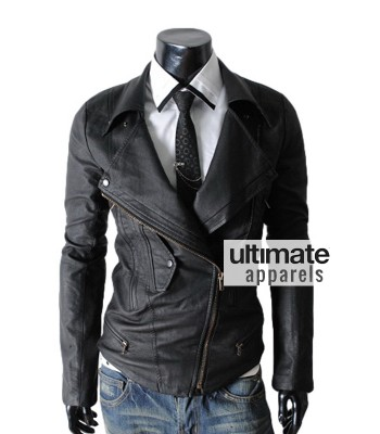 Multi Pocket Slim-fit Rider Black Leather Jacket