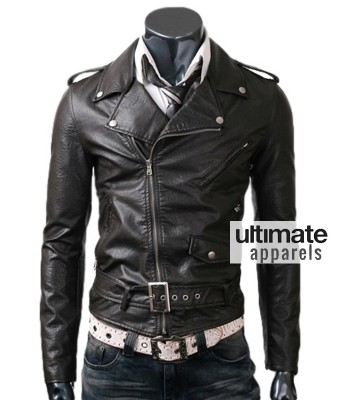 Belted Rider Men's Slim Fit Biker Black Leather Jacket