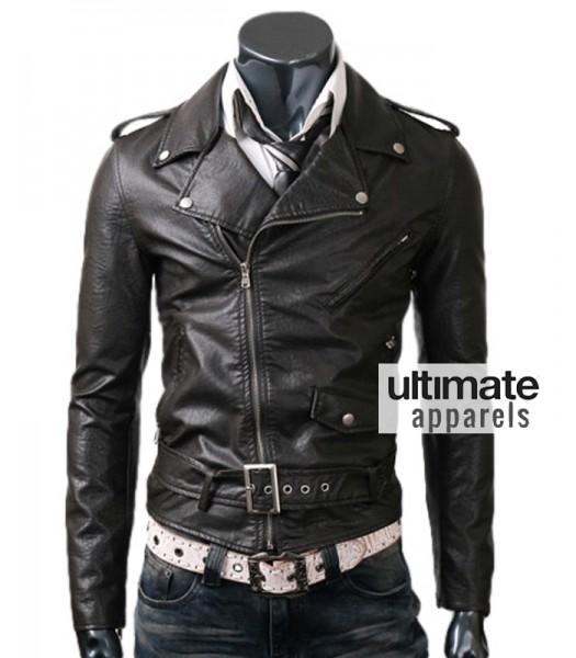 4771cf67de03a Belted Rider Men s Slim Fit Biker Black Leather Jacket.  165.00
