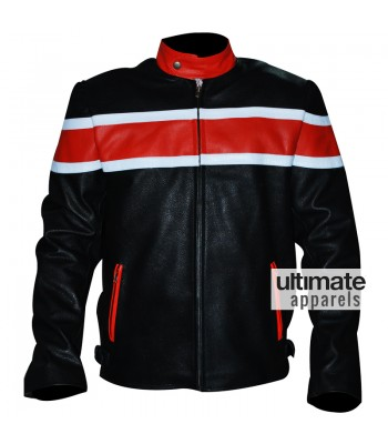 Men's Black Heavy Biker Leather Jacket With Orange Stripes