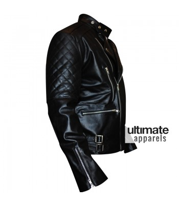 Brando Men's Vintage Quilted Black Biker Leather Jacket