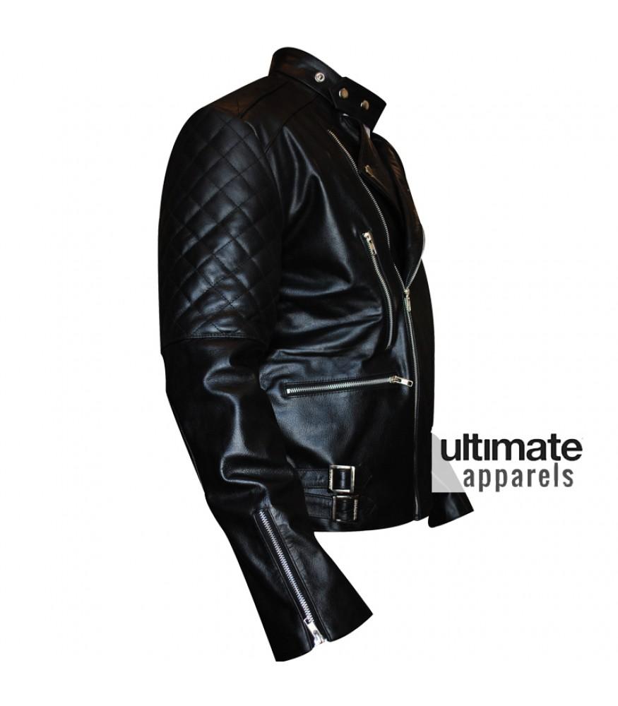 Brando Men's Vintage Quilted Black Biker Leather Jacket