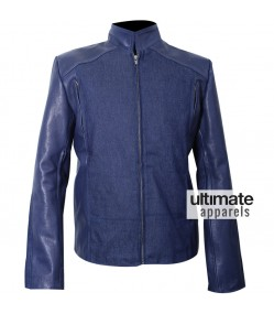 Winter Soldier 2014 Chris Evans Blue Leather Jacket