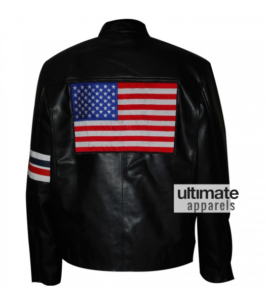 Captain America Easy Rider Peter Fonda Biker Black Jacket