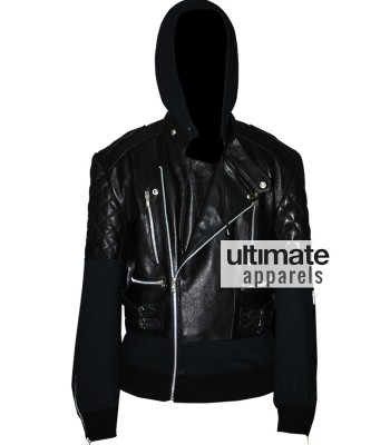 Chris Brown Designers Black Hooded Leather Jacket