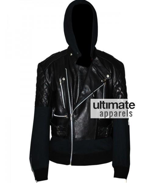 Chris Brown Designers Black Hooded Leather Jacket