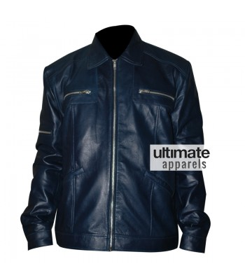 Designers Navy Blue Men's Leather Jacket