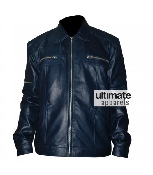Designers Navy Blue Men's Leather Jacket