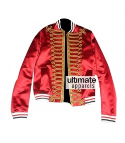 Homme Men's Red Bomber Varsity Satin Jacket