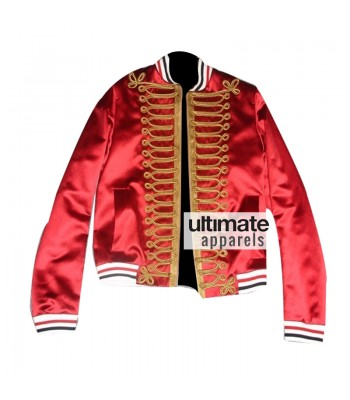 Homme Men's Red Bomber Varsity Satin Jacket