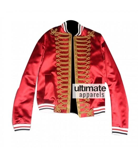 Dior Homme Men's Red Bomber Varsity Satin Jacket