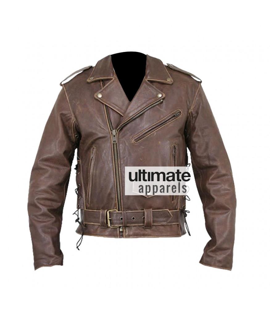 Leather jacket yellow stripe - Brando Heavy Duty Distressed Brown Biker Leather Jacket