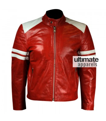 Fight Club Brad Pitt Mayhem Red Jacket With White Stripes