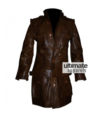 Defiance Grant Bowler Nolan Long Distressed Leather Jacket