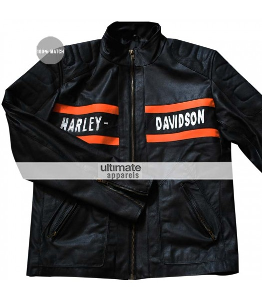 Harley Davidson Bill Goldberg Biker Black Leather Jacket