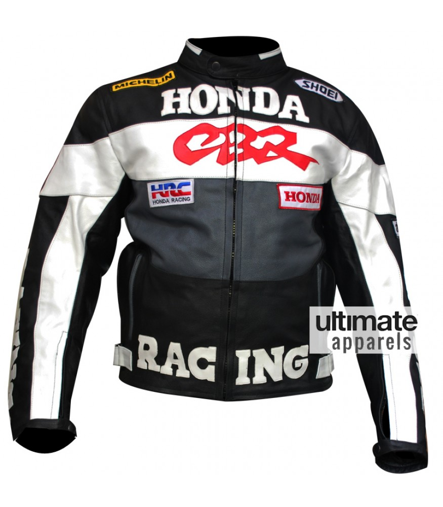 Honda CBR Men's Black and White Biker Jacket