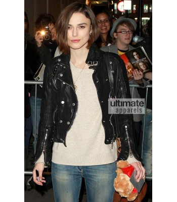 Keira Knightley Burberry Prorsum Black Quilted Leather Jacket