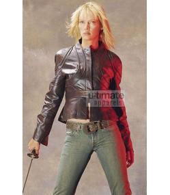 Kill Bill Volume 2 Uma Thurman Black Leather Jacket