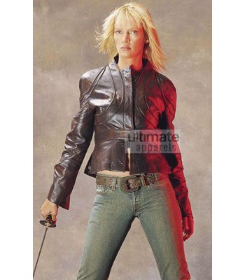 Kill Bill Volume 2 Uma Thurman Black Leather Jacket