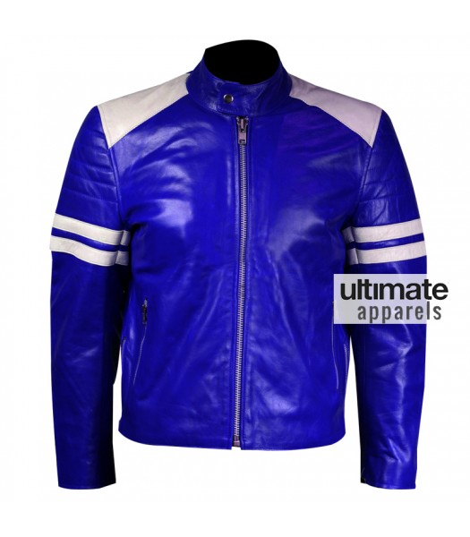 Men Blue Leather Motorcycle Jacket With White Stripes