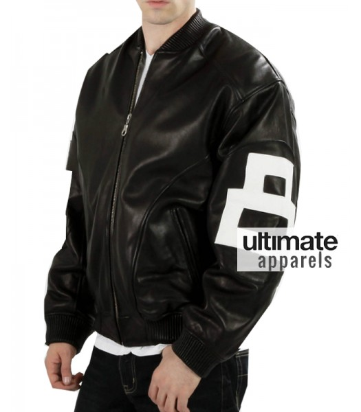 Mens 8 Ball Bomber Black Supreme Leather Jacket