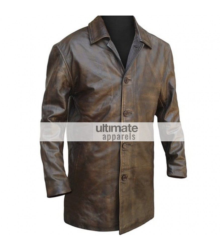 96e53ed72 Mens Distressed Brown Trench Leather Blazer Jacket
