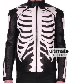 Skeleton Bones Sketch Motorcycle Black Leather Jackets
