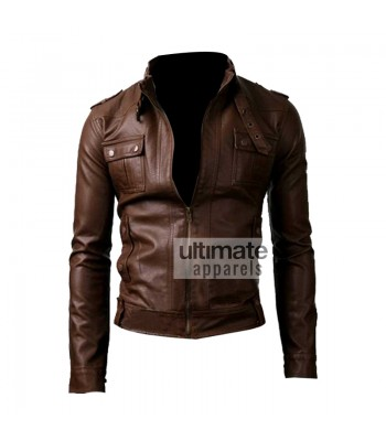 Slim Fit Strap Pocket Brown Leather Jacket