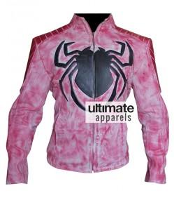 Spiderman Wax Pink Men Biker Leather Jacket