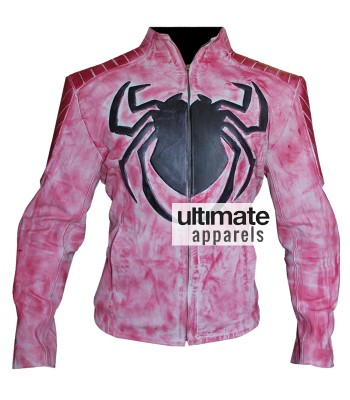 Spiderman Wax Pink Men Biker Leather Jacket