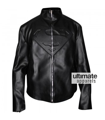 Superman Smallville PU Faux Black Leather Jacket