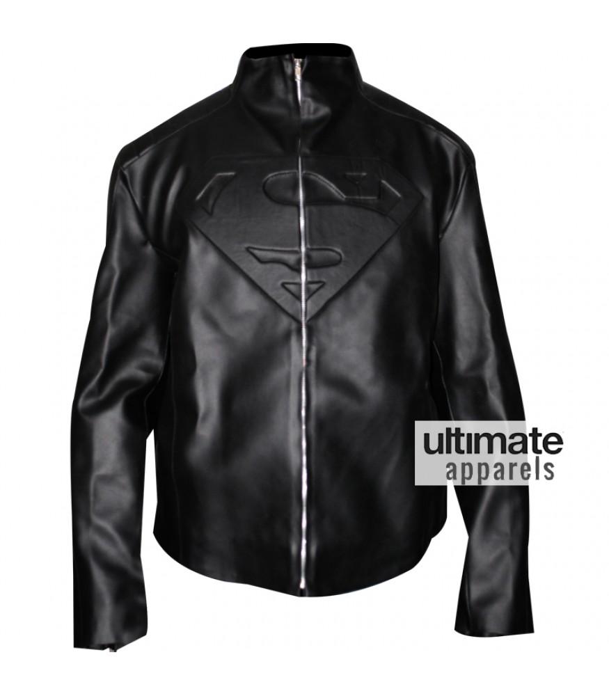 Superman Smallville PU Faux Black Leather Jacket